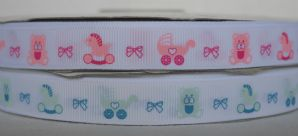 15mm BABY'S TEDDY BEAR, RIBBON, ROCKING PONY & PRAM GROSGRAIN RIBBON